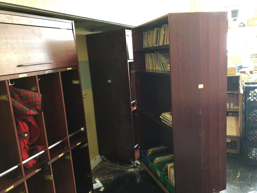 transforming bookcase cubby system back